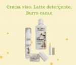 crema viso, latte detergente, burro cacao al latte d'asina